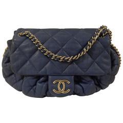 Chanel Blu Silver Tone hardware Shoulder Bag