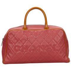 Chanel Pink Matelasse Leather Logo Bowling Handbag