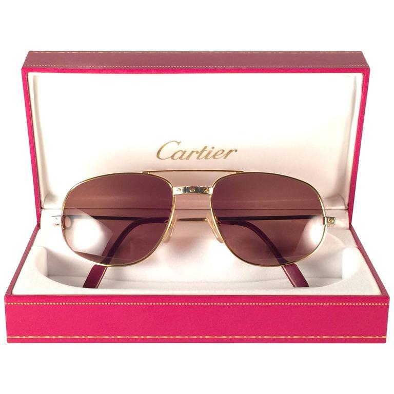 a6ed55b05194d New Vintage Cartier Romance Santos 56MM France 18k Gold Plated Sunglasses  For Sale