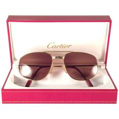 New Vintage Cartier Romance Santos 56MM France 18k Gold Plated Sunglasses