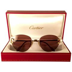 New Vintage Cartier Portofino Gold 50mm Rimless Brown Lens France Sunglasses