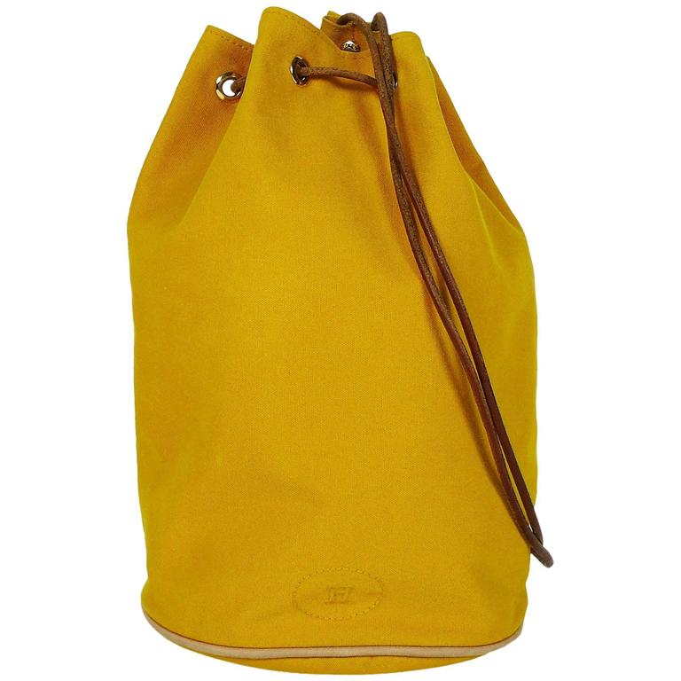 herm s vintage saffron yellow sac polochon bag for sale at 1stdibs. Black Bedroom Furniture Sets. Home Design Ideas