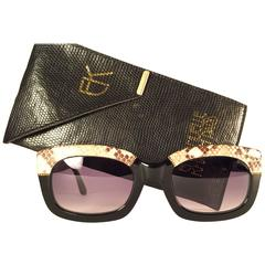 New Vintage Emanuelle Kahn Paris Genuine Python & Black Sunglasses France