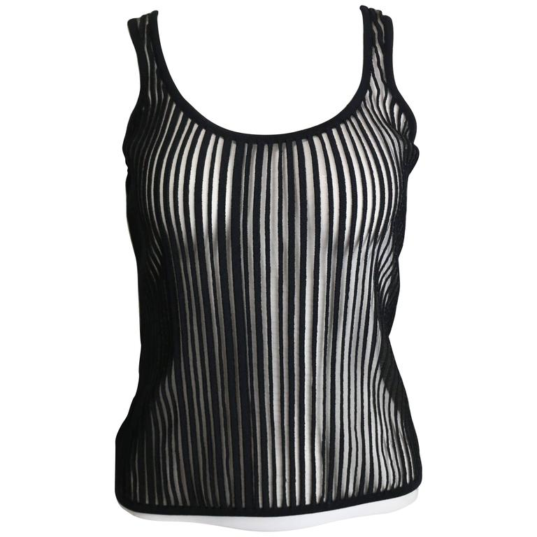 Thierry Mugler Black Knitted Vertical Stripe See Through Tank Top For Sale