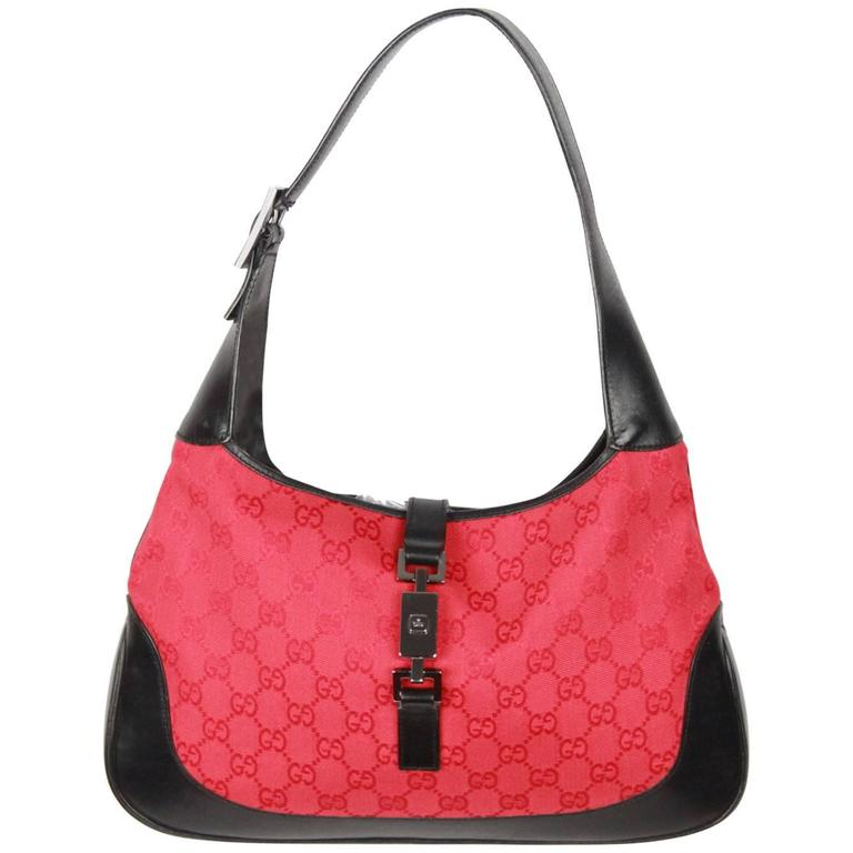 4f83235aef45 GUCCI Red Monogram Canvas and Black Leather HOBO JACKIE O For Sale ...