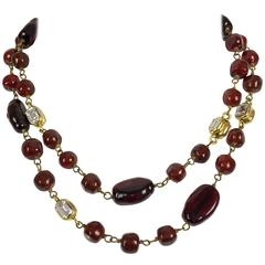1970s Chanel Red Gripoix and Rhinestone Long Necklace