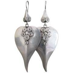 Vintage Danish Silver Modernist Leaf Shape Drop Earrings Mid Century