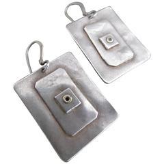 Vintage Modernist Silver Drop Earrings Mid Century Dangle Earrings