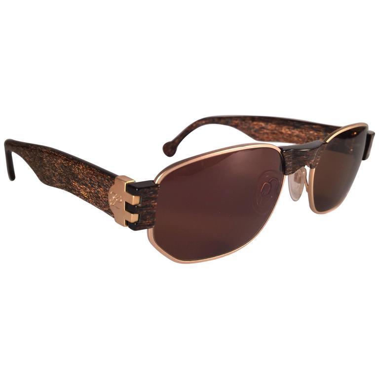 New Vintage Karl Lagerfeld L4503 Matte Gold & Stripes Frame 1990's Sunglasses