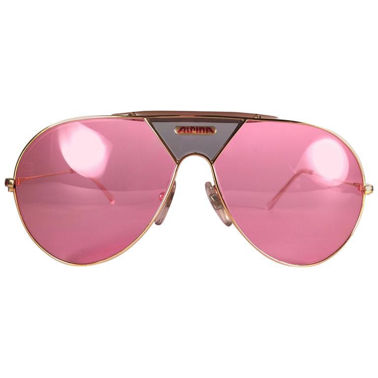 New Vintage Alpina TR Aviator Gold And Green Miami Vice Don Johnson - Alpina sunglasses for sale