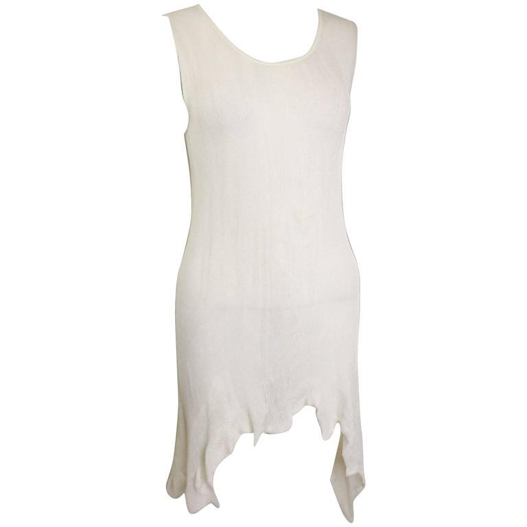 E Couture White Asymmetric Hem Sleeveless Knitted Dress