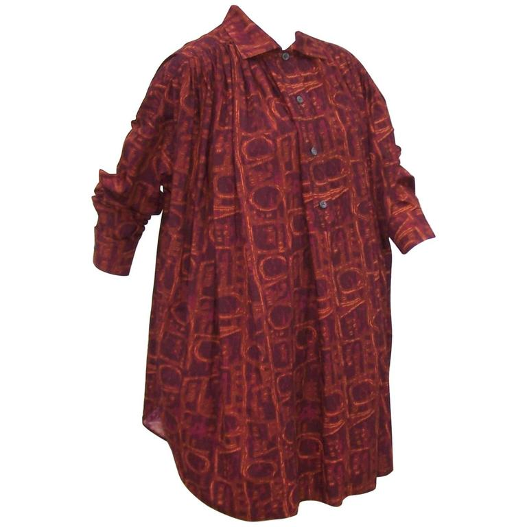 Exotic 1980's Callaghan Italian Cotton Smock Top