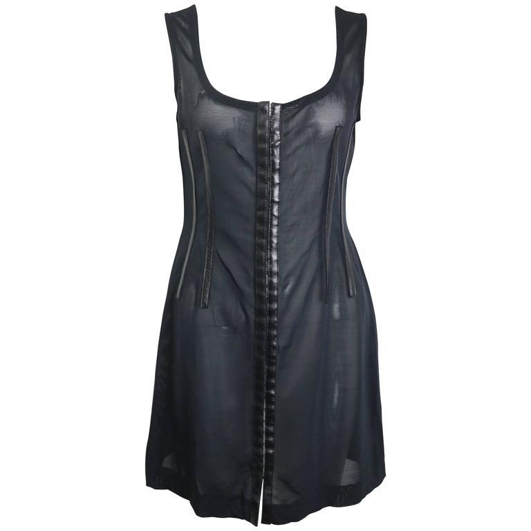 Plein Sud Black Leather Trim See Through Sleeveless Dress For Sale
