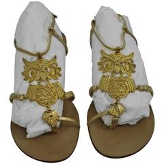 Giuseppe Zanotti Lovely Owl Flats in Leather and Metal. Size 8