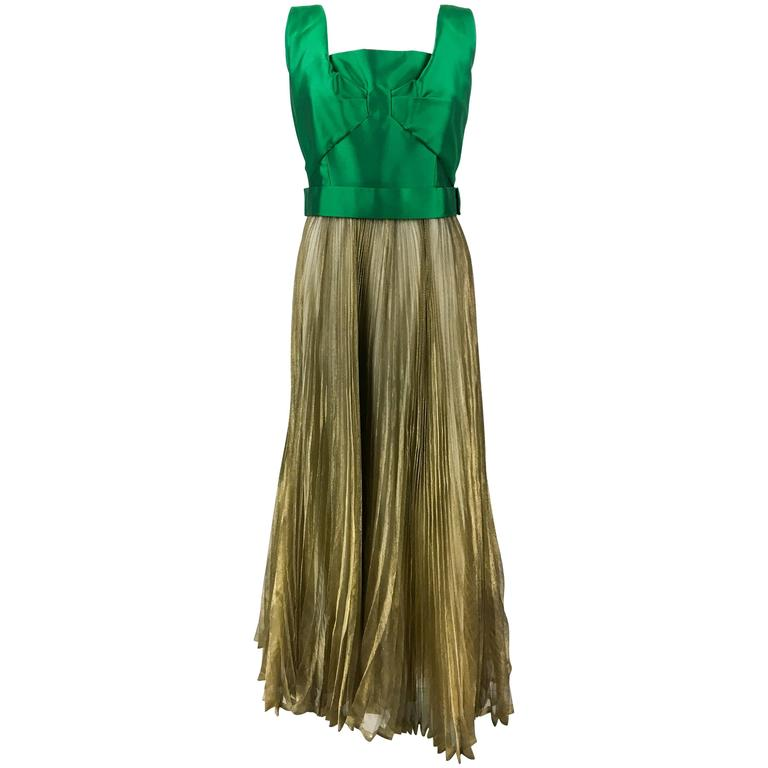 Early 1960s Lanvin Haute Couture Green Gazar and Gold Lame Pleated Gown