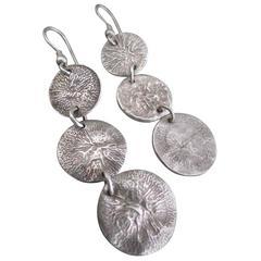 Vintage Modernist Silver Drop Earrings Danish Mid Century Dangle Earrings
