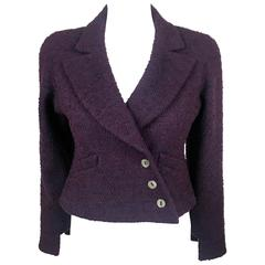 2001 Chanel Deep Purple Bouclé Cropped Jacket