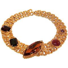 Stunning 1980's Dominique Aurientis Gold Collar Necklace With Gripoix Glass