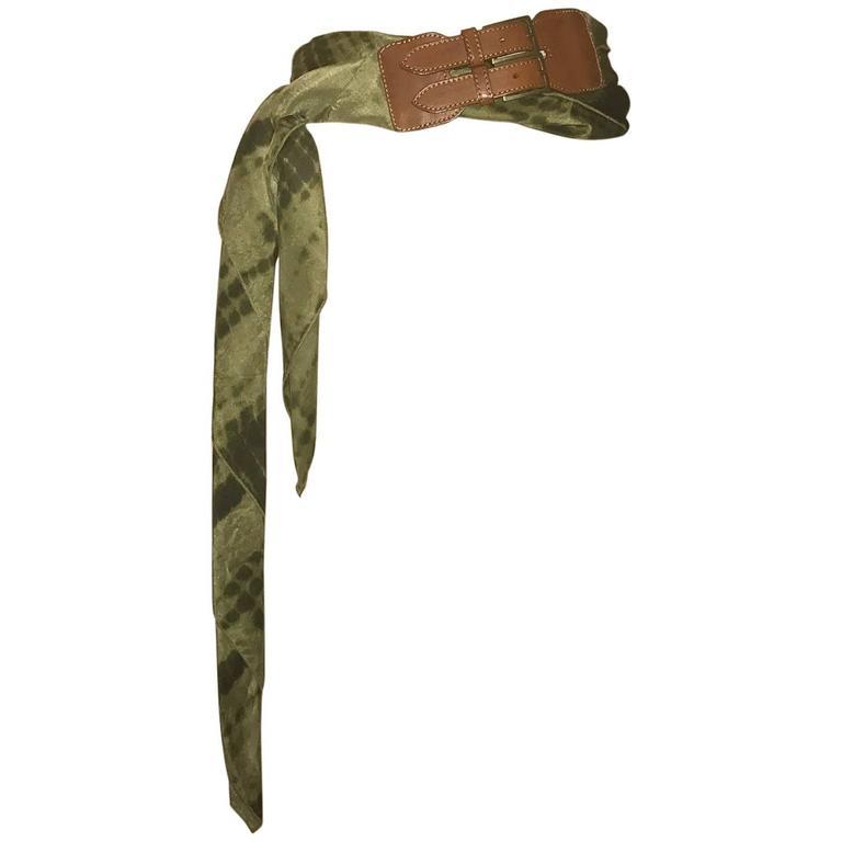 Alexander McQueen Green Silk Scarf Tie Dye Belt  For Sale