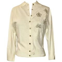 Schiaparelli Soft White Floral Beaded Embellished Cardigan Sweater, 1960s
