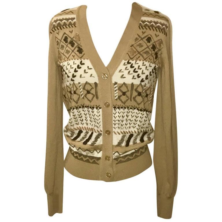 Yves Saint Laurent Cashmere Camel Geometric Paint Print Cardigan Sweater