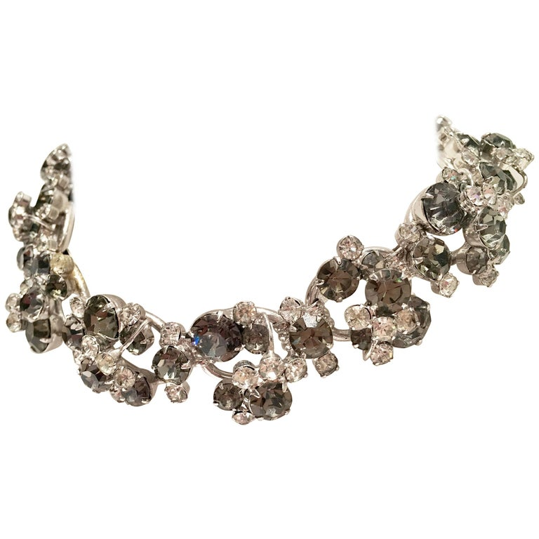 20th Century Italian Silver & Swarovski Crystal Chain Link Choker Necklace For Sale 1