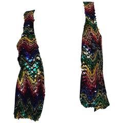 c1973 Biba Rare Rainbow Sequin Vest Top