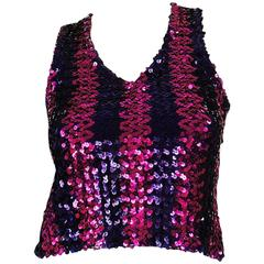 c1973 Biba Blue and Pink Sequin Vest Top