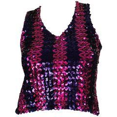 c1973 Biba Blue and Pink Sequin Vest Top