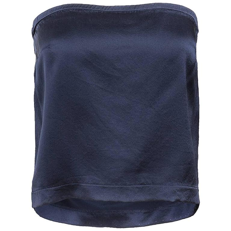 Maison Martin Margiela Blue Silk Strapless Top
