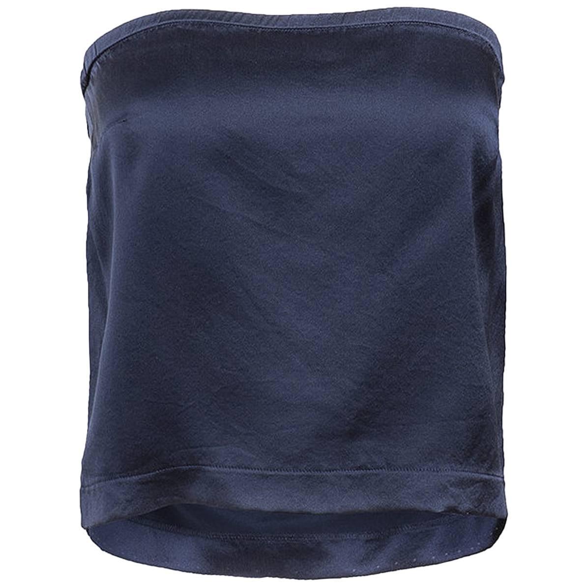 Maison Martin Margiela Blue Silk Strapless Top