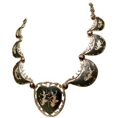 1930'S Siamese Sterling Silver & Niello Enamel Heart Choker Necklace