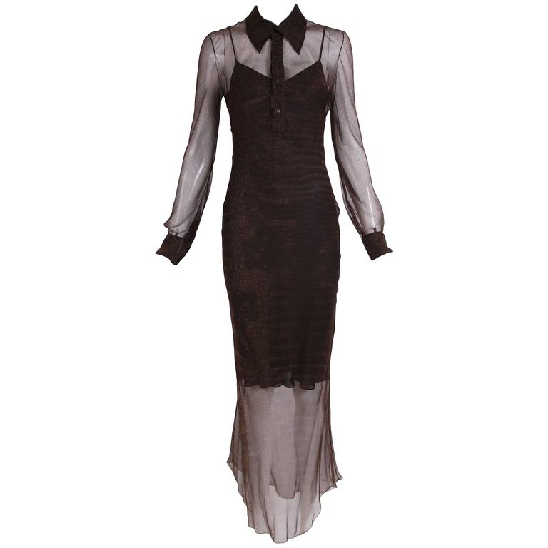 John Galliano Brown Silk Chiffon Snake Print Transparent Dress