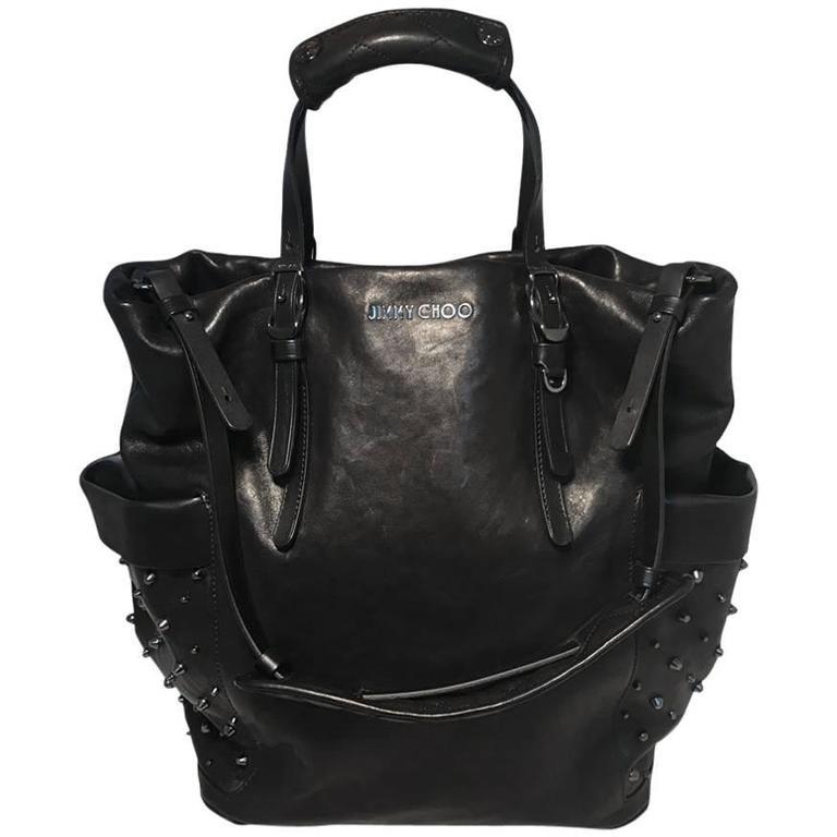 Jimmy Choo Black Leather Studded Shoulder Bag Tote 1