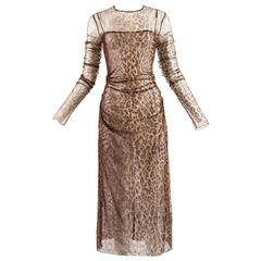 Dolce & Gabbana Spring-Summer 1997 leopard print mesh evening dress