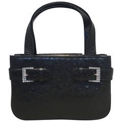 MCM Vintage Black Ostrich Mini Handbag Purse