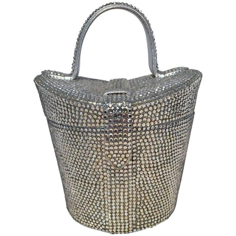 fa1cd5fecc Judith Leiber Vintage Swarovski Crystal Basket Evening Bag For Sale ...