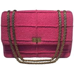 Chanel Magenta Tweed Maxi Classic Flap Shoulder Bag