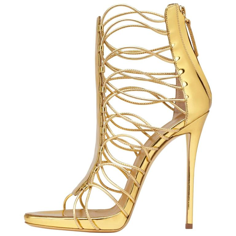 Giuseppe Zanotti New Gold Leather Gladiator Sandals Heels in Box For Sale