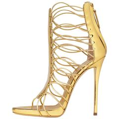 Giuseppe Zanotti New Gold Leather Gladiator Sandals Heels in Box