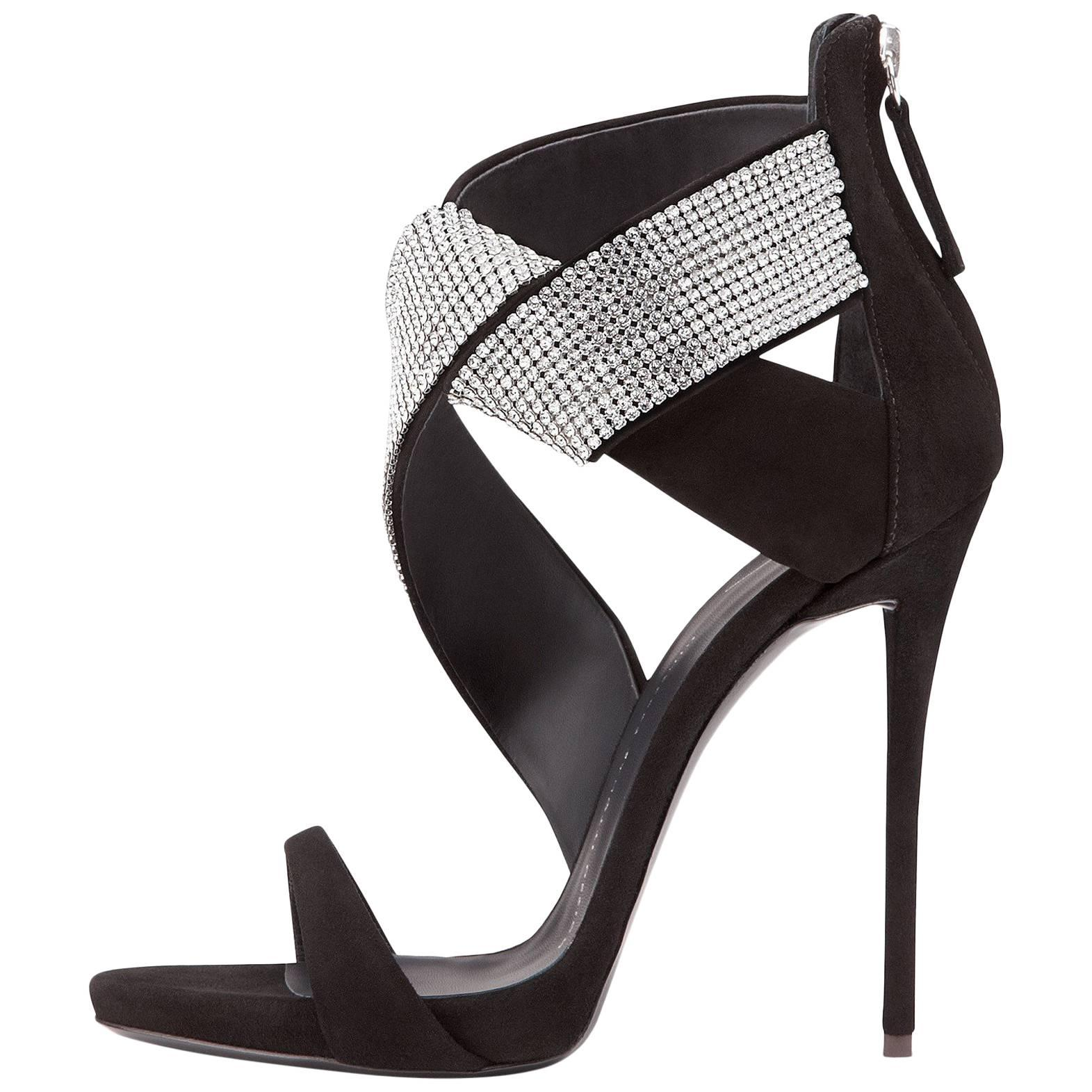 Giuseppe Zanotti Black Suede Crystal Wrap Around Sandals Evening Heels in Box