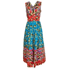 1970s Floral Print Cotton Sleeveless Summer Dress