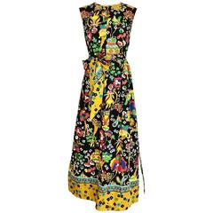 1970s Multi Color Bold Print Sleeveless Cotton Maxi Dress