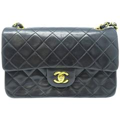 Chanel Classic Double Flap Black Quilting Lambskin Leather Gold Metal Flap Bag