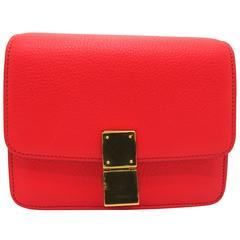 Celine Classic Box Red Calfskin Leather Shoulder Bag