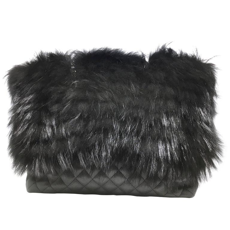 Chanel Black Calfskin Leather / Fur Chain Shoulder Bag 1