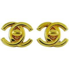 Chanel Vintage Gold Toned Turn Lock Clip-On Earrings Spring/Summer 1996