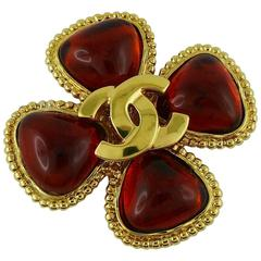Chanel Vintage 1996 Gripoix Clover CC Brooch