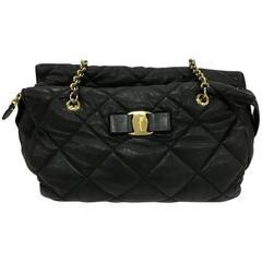 Salvatore Ferragamo Ginette Chain Shoulder Bag Quilted Leather Medium