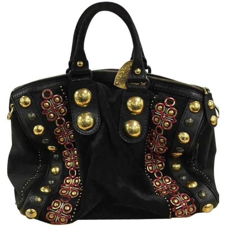 57211f83c7ee3d Gucci Babouska Boston Bag Embellished Suede Large at 1stdibs